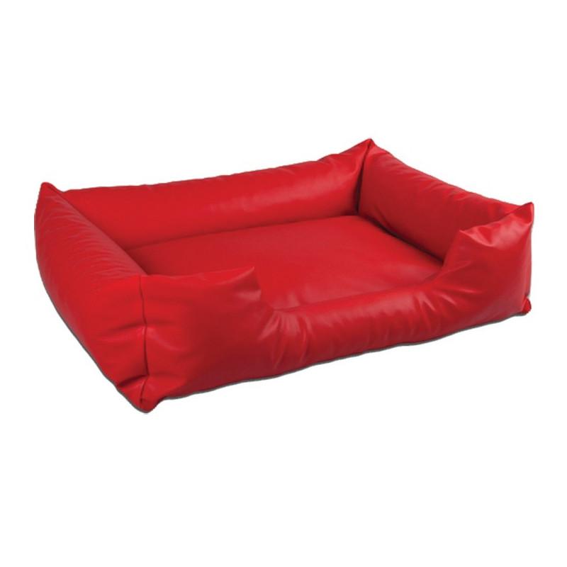 sofa simili cuir rouge